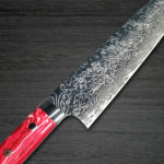 Back in stock! Takeshi Saji R2 Diamond Finished Damascus Chef's Knives with Red Turquoise Handle