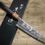 Yu Kurosaki FUJIN Damascus & Storm-textured Chef Knives with Stylish Brown-Ring Rosewood Handle