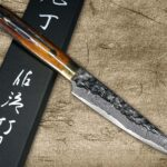 Takeshi Saji VG10 Mirror Hammered Damascus Chef Knives with Brown Antler Handle