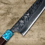 Yu Kurosaki FUJIN Storm-textured Chef Knives with Stylish Turquoise & Wenge Handle