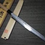 Yoshihiro Swordlike Damascus Suminagashi Aogami #1 Sakimaru-Takohiki Knives